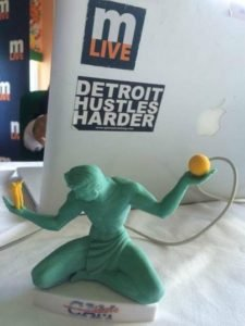 """The Spirit of Detroit"" -- a 3D printed mini-model of the original. Read more on the BIG M conference Web site on Facebook!"